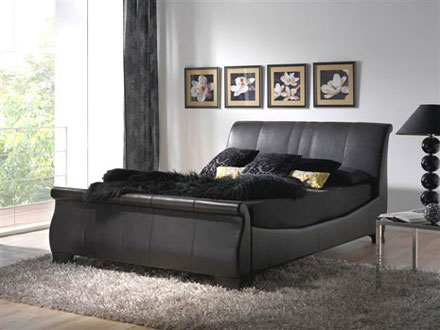 Viking bed black leather in bedroom