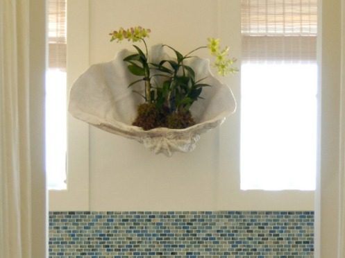 white shell flower pot orchid blue bathroom