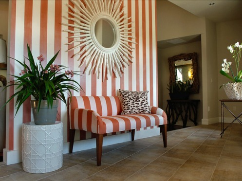 stripy red orange white foyer entry hallway sun mirror bench