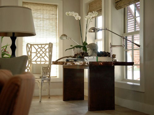 classic beige greige white foyer nook desk orchid