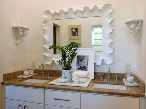 white bathroom sea shell mirror frame beach kids room