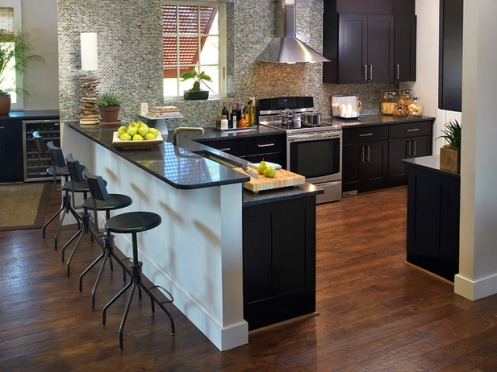 modern kitchen grey mosauc tiles black clean surfaces