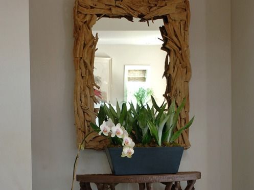mirror orchid natural frame living room hallway