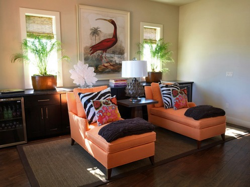 modern living room lounge tan brown orange peach zebra beach style
