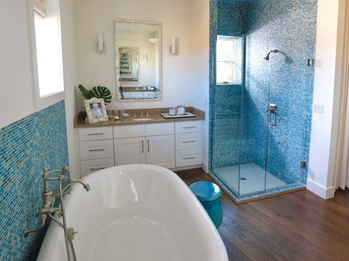 blue and white master bathroom tiles beachy modern style