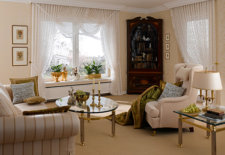 beige cream room white curtains living room make over