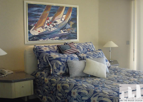 nautical style interior master bedroom blue and white cream sailboat