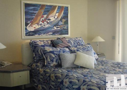 nautical style interior master bedroom blue and white cream sailboat