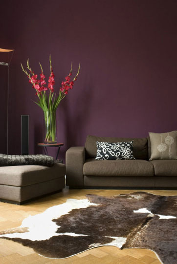 aubergine purple and grey modern living room