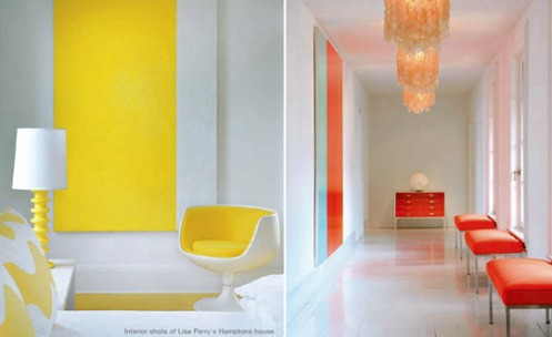 whithe red yellow hallway nook chandelier retro chair lisa perry