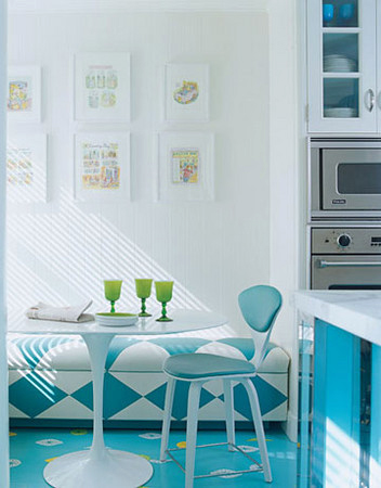 white blue green kitchen dining area
