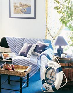 nautical interior white and blue living room lounge