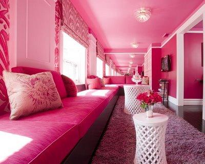 Pink room hallway sofa white round table purple rug