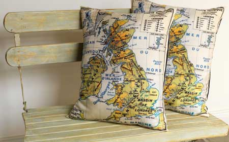 nautical cushion map pillow