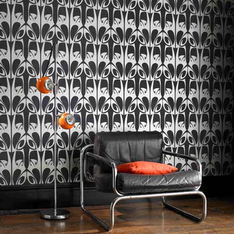 black silver and orange retro modern wallpaper, chair and lamp