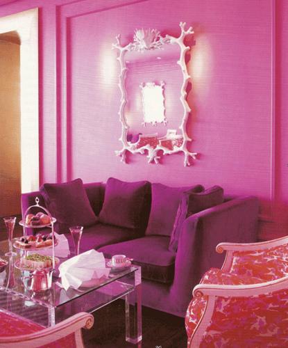 pink iving room purple sofa whote modern mirror frame