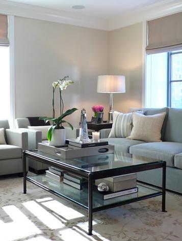 light soft living room modern glass table
