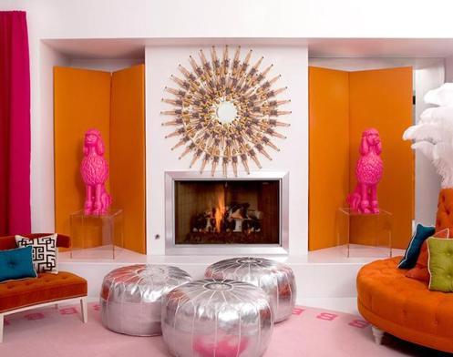 white orange hot pink modern living room