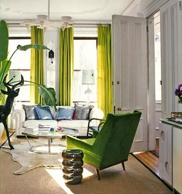 white and green modern living room with bambi statue