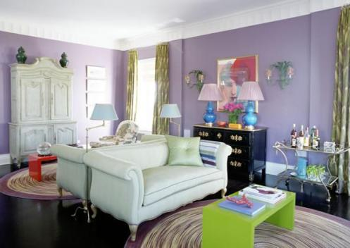 lilac purple living room colorful with mirror wall