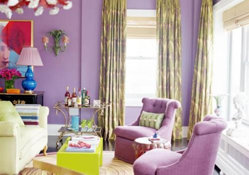 lilac and yellow living room