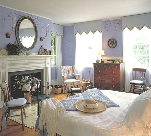lilac and white romantic country master bedroom, round mirror