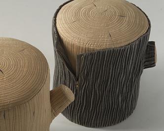 wooden tree stump stool