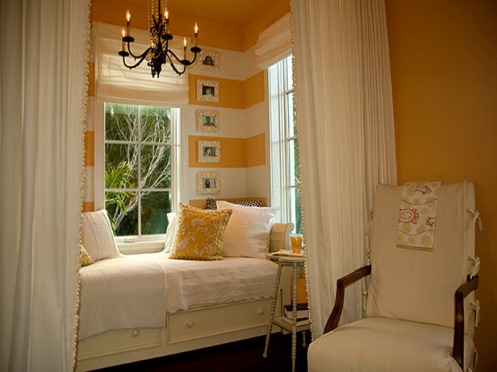 yellow mimosa and white stripy wall daybed lounge