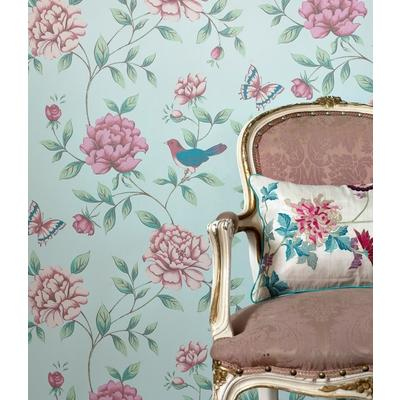 romantic turqouise floral wall paper covering with birds