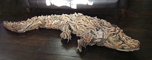 driftwood crocodile aligator sculpture