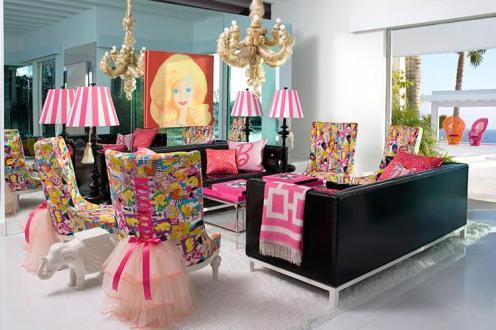 barbie fantasy style modern living room