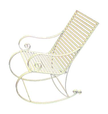 white garden rocking chair