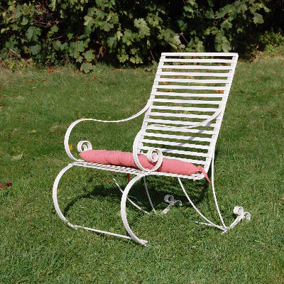 white garden rocking chair red fabric