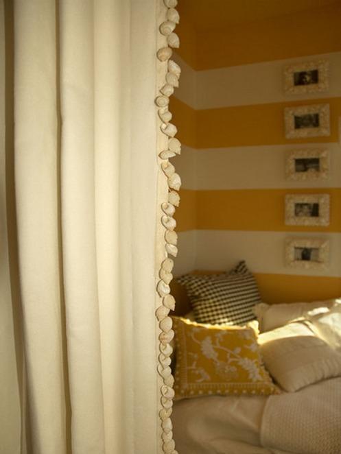 yelloe white stripy wall sea ahell curtain trim