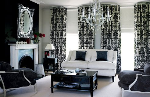 black and white living room lounge white sofa chandelier modern mirror