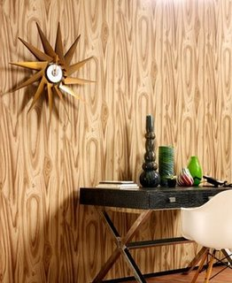 retro hall way entry fake wood wall paper table trey and sun clock