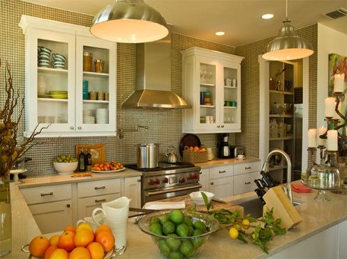 green and white kitchen