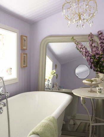 lilac romantic country bathroom with chandelier