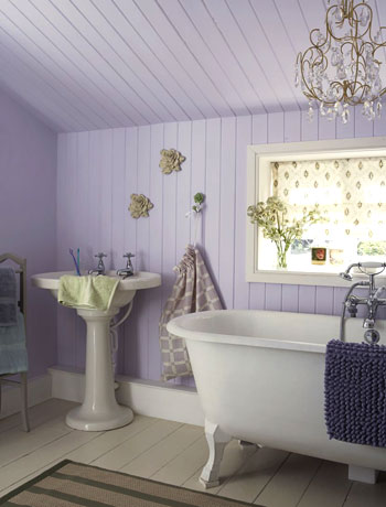 lilac and white romantic country style bathroom