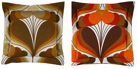 brown red retro pattern 70's pillows