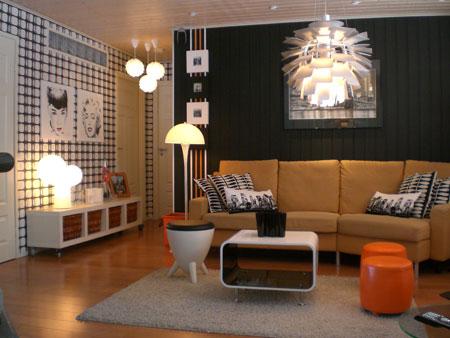 authentic retro living room black white brown, lighting lamps