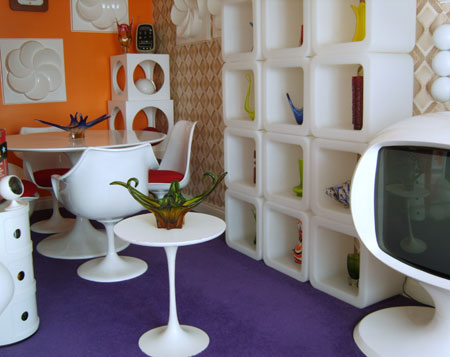 orange, purple and white retro modern dining room