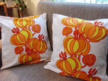 prange red yellow pattern white pillow 70's retro modern