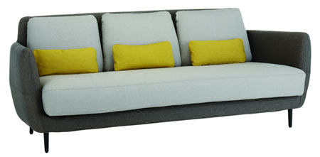 charcoal grey yellow and white retro sofa 70's pillows