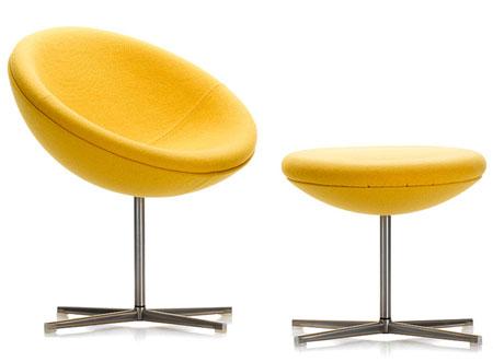 yellow retro modern egg chair