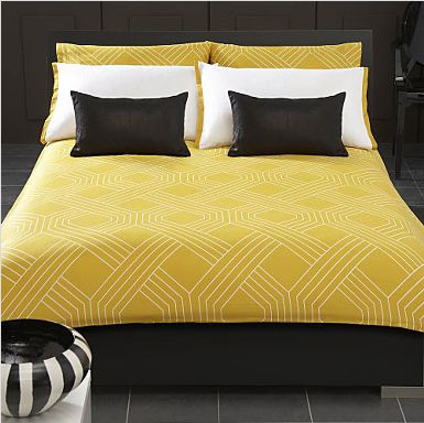 brown mustard yellow bed pillow retro pattern 70's modern room