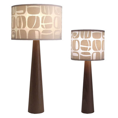 brown pattern retro 70's table lamp