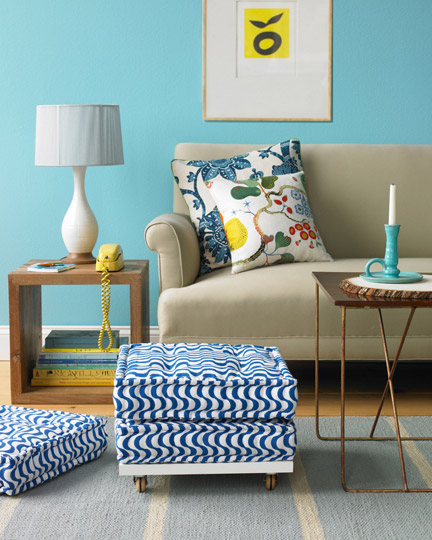 blue beige yellow retro living room lounge