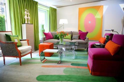 colorful living room organge green purple