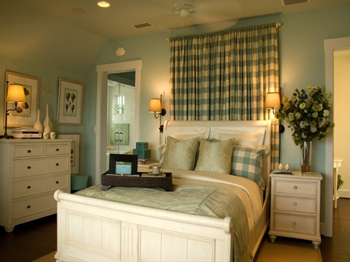 light blue and white beachy master bedroom